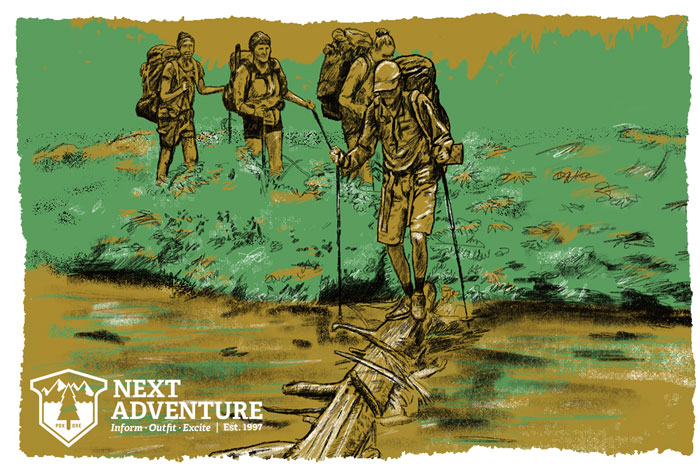 Group hiking with Next Adventure