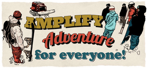 Amplify Adventure for Everyone - illustration of group gathered for snowsports