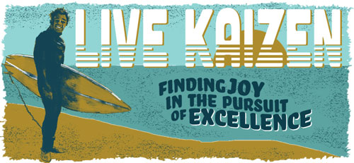 Live Kaizen - Illustration of person with surfboard