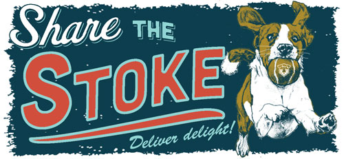 Share the stoke, deliver delight. Illustration of happy dog with ball from Next Adventure.