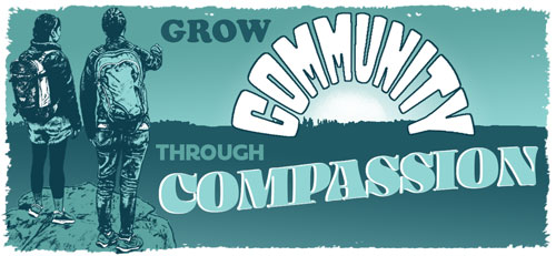 Grow community through compassion. - Illustration of hikers watching the sun on the horizon