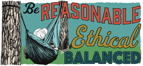 Be reasonable, Ethical, and balanced - illustration of person relaxing in a hammock