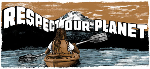 Respect our planet while acknowledging our impact. - Illustration of person kayaking mountain lake with Mt. Hood in background